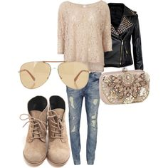 cream lace and cotton oversize top - goldish cream tinited aviators - medium wash destroyed skinnies - black studded leather jacket - cream lace up leather booties - embroidered hardcase clutch