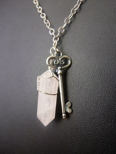 Handmade Rose Quartz Crystal Necklace with Sterling Silver Key Charm - One of a Kind Mineral Jewelry, Boho