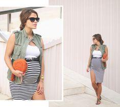 2. green vest stripped pencil skirt - jessie chanes - pregnancy