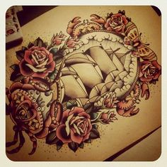 Pirate ship/roses Traditional tattoo, I like it except for the butterfly and the crabs. Trendy Tattoos, Love Tattoos, Beautiful Tattoos, Tatoos, Ship Tattoos, Awesome Tattoos, Beautiful Body, See Tattoo, Tattoo You