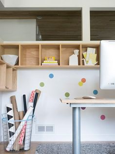 Putting colored dots on the wall to distract littles from the oh-so-fun cords and such? Genius!