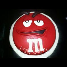 Red m&m fondant cake