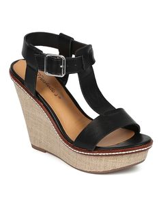 Breckelles CF09 Women Leatherette T-strap Platform Weave Sandal Wedge - Black ** See this awesome image  : Wedges Shoes