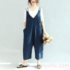 blue stylish pockets cotton jeans plus size casual jumpsuit pants