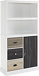 Altra Mercer Storage Bookcase with Multicolored Door and Drawer Fronts, White