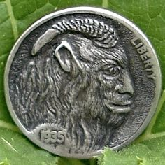 LEE KINDER HOBO NICKEL - GOATMAN KRAMPUS - FIRST CARVING - 1936 BUFFALO PROFILE Hobo Nickel, Buffalo, Cool Art, Coins, Carving, Profile, Metals, User Profile, Rooms