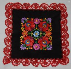 Hand embroidered  tablecloth Hungarian Matyo more colors silk Yarn crochet neu
