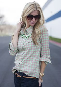 Spring Checkered Blouse.