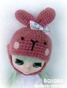 Blythe Middie Bunny Helmet Blythe Middie Knit Hat by kokorogumis, $10.00