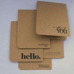 Hand stamped Manila folder/ Kraft paper cards