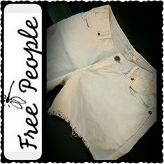Free People Shorts Free People Corduroy Style Shorts in Off White Shade, Blend of Cotton Spandex Material, Two Side Pockets, Zip Up with Button Closure, Mint Condition Free People Shorts