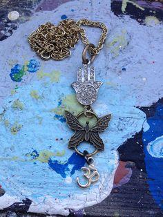 Hamsa Butterfly Ohm Yoga Necklace