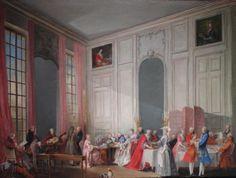 Le Thé à l'anglaise servi dans le salon des Quatre-Glaces au palais du Temple à Paris en 1764. Michel Barthélemy OLLIVIER (1712 - 1784)
