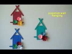 Popsicle Sticks Wall Hanging with Handmade Paper Flower(kids Room Decoration) - YouTube