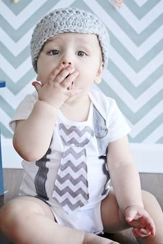 PICK YOUR OWN Chevron Baby Boy Tie Bodysuit with Suspenders and Crocheted Hat - Little Man, Chevron, Photo Prop on Etsy, $38.10 CAD                    blow a kiss