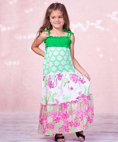 Another great find on #zulily! Green & Pink Maddie Maxi Dress - Infant, Toddler & Girls #zulilyfinds