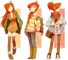 some autumn-inspired wendy outfits  Art by http://life-writer.tumblr.com/
