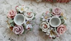 Capodimonte Candle Holders  Set  Pastel Roses and by NanNasThings, $12.95