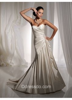 Strapless Sweetheart Sexy Ivory A-line Floor-length Taffeta Lace-up Wedding Dress
