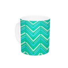 Symetrical by CarolLynn Tice 11 oz. Turquoise Ceramic Coffee Mug