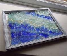 Beach Glass Mosaic  Blue and seafoam Ripples