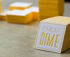 square with yellow edge paint business card