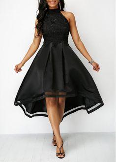 f890d51796ad Black Lace Panel Sleeveless High Low Dress