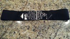 "TRENDY WOMEN Plus Size (1) Wide Cinch Elasic High Waist  Black Silver Belt 36"" #Unbranded"