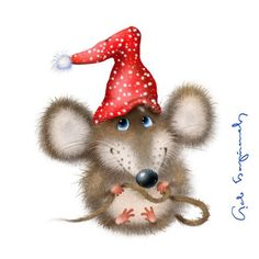 DIY Diamond Painting Cartoon Mouse in Red Hat - craft kit Christmas Clipart, Christmas Pictures, Christmas Art, Vintage Christmas, Xmas, Animal Drawings, Cute Drawings, Decoupage, Cute Mouse