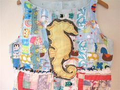 SEAHORSE SEE HORSE Tunic Wearable Collage Art Clothing  by MyBonny