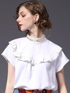 f92e7ec8fd19a6 Just Shop for Hollow Out Contrast White Stand Collar Short Sleeves Women s  Blouses from Jollyhers Online