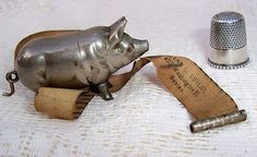 Antique Figural Pig Sewing Tape Measure by Alvan Lovejoy; Circa 1880's
