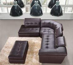 397 Leather Sectional Sofa in Chocolate Color by NicolettiCalia
