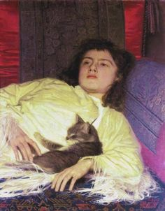 A Girl with a Cat by Ivan Nikolaevich Kramskoi