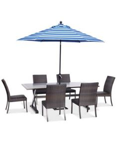 "NEW! Savannah Outdoor 7-Pc. Dining Set (84"" x 42"" Rectangle Dining Table & 6 Armless Dining Chairs)"