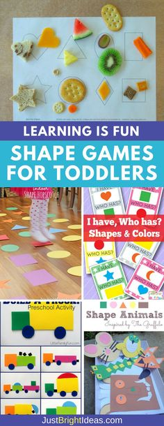 Learning the different shapes is really important for toddlers as they are key to pre-math and logic and pre-reading and writing skills. Check out these fun shape games for toddlers many of which will help put their excess energy to good use! Eyfs Activities, Nursery Activities, Toddler Activities, Preschool Activities, Shape Activities, Toddler Games, Preschool Learning, Shapes For Toddlers, Maths For Toddlers