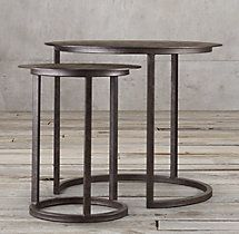"""Mercer Round Nesting Tables / DIMENSIONS Small Nesting Table: 18"""" diam., 23""""H Large Nesting Table: 28"""" diam., 26""""H / $590 - $695   SELECT ITEMS ON SPECIAL"""