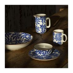 Jarra de loza - 1L - Estampado azul Color Terracota, Color Bordo, Retro, Habitats, Mugs, Tableware, Flat, Red Dots, Dishwasher