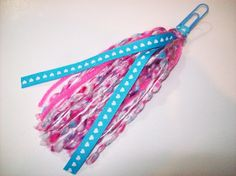 Handmade Pink and Blue Ribbon and Yarn Paperclip Page Marker and Planner Decoration