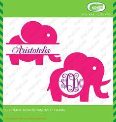 Elephant Monogram Split frame SVG DXF PNG eps by Alligcutter