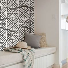 Create a bold and striking look with this contemporary peel and stick wallpaper. Its black geometric pattern pops against a crisp white background. Black Linear Peel and Stick Wallpaper comes on one roll that measures inches wide by 18 feet long Self Adhesive Wallpaper, Wallpaper Roll, Peel And Stick Wallpaper, Accent Wallpaper, Contemporary Style, Modern, Flat Shapes, Traditional Wallpaper, White Patterns