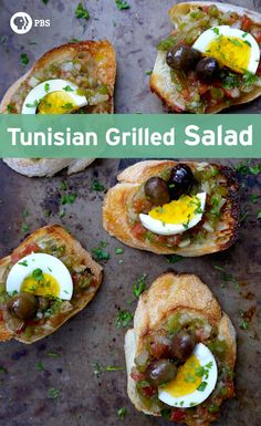 Tunisian Grilled Salad is also known as Slata Mechouia featuring stovetop roasted peppers, onions, and tomatoes on bread.