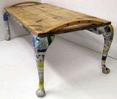 Upcycled Furniture by Jamie Ward Jamie Ward's Furniture Reborn – Inhabitat - Sustainable Design Innovation, Eco Architecture, Green Building. Decoupage legs on this little table give it a little pop of color. Redo Furniture, Furniture Projects, Funky Furniture, Reclaimed Furniture, Recycle Table, Creative Furniture, Furniture, Repurposed Furniture, Recycled Furniture