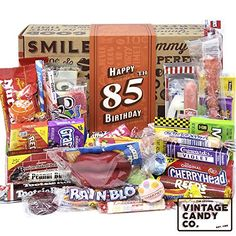 Retro Candy Happy Birthday Gift Box - fun candy gift basket that's full of candy from their childhood! Birthday Gag Gifts, 85th Birthday, Birthday Candy, Birthday Gift For Him, Birthday Ideas, Candy Gift Baskets, Themed Gift Baskets, Wine Gift Baskets, Candy Gifts