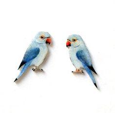 Hand Painted Parakeet Earrings - earrings