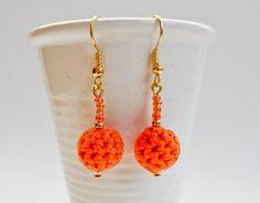 Earrings - Crocheted Orange / Gold Orange Things, Crochet Earrings, Gold, Jewelry, Fashion, Moda, Jewlery, Jewerly, Fashion Styles