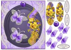 Purple Butterflies and Yellow Roses with Pyramid Layers  on Craftsuprint designed by Barbara Hiebert - This is a card topper that has both pyramid layers and decoupage butterflies,The sentiment tags say,Wishing You Well Thank YouHappy Birthday - Now available for download!