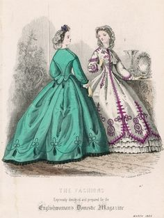 This fashion plate from 1864 is later than the period of my novel (1853-54), but the crisp, rather military braiding on the dress at the right helped inspired the style of Clare Hetton, my protagonist. From the beginning, I knew she was not a ruffly, flouncy woman, so the question arose: how would she dress of her time, yet in a way that expressed her real soul? Even though dresses are rarely described in the novel, it was important to me to pin this element of her identity down.