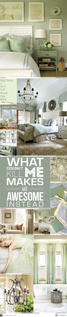 Calming bedroom decorated in Sage Green color