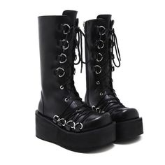 GRUNGE HIGH HEEL Platform Leather Style: Soft PU Leather Outsole Material: Rubber Plastic Heel Height:Super High (8cm-up) 22.5 cm = EURO 35 = US 423.0 cm = EUR